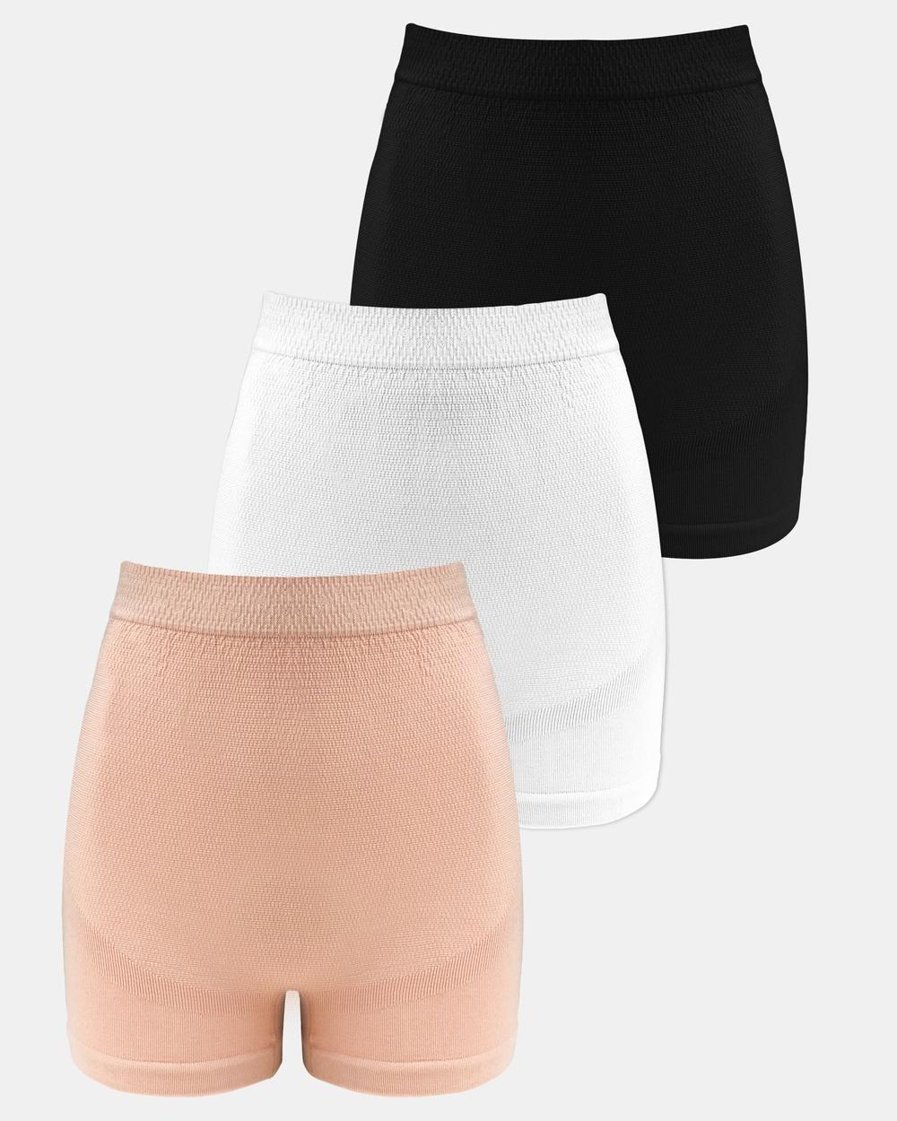 B Free Intimate Apparel 3 Pack Maternity Boyleg Shorts Briefs Black White Nude 3-Pack Australia