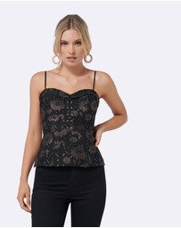 Forever New - Gwen Floral Lace Up Metallic Top