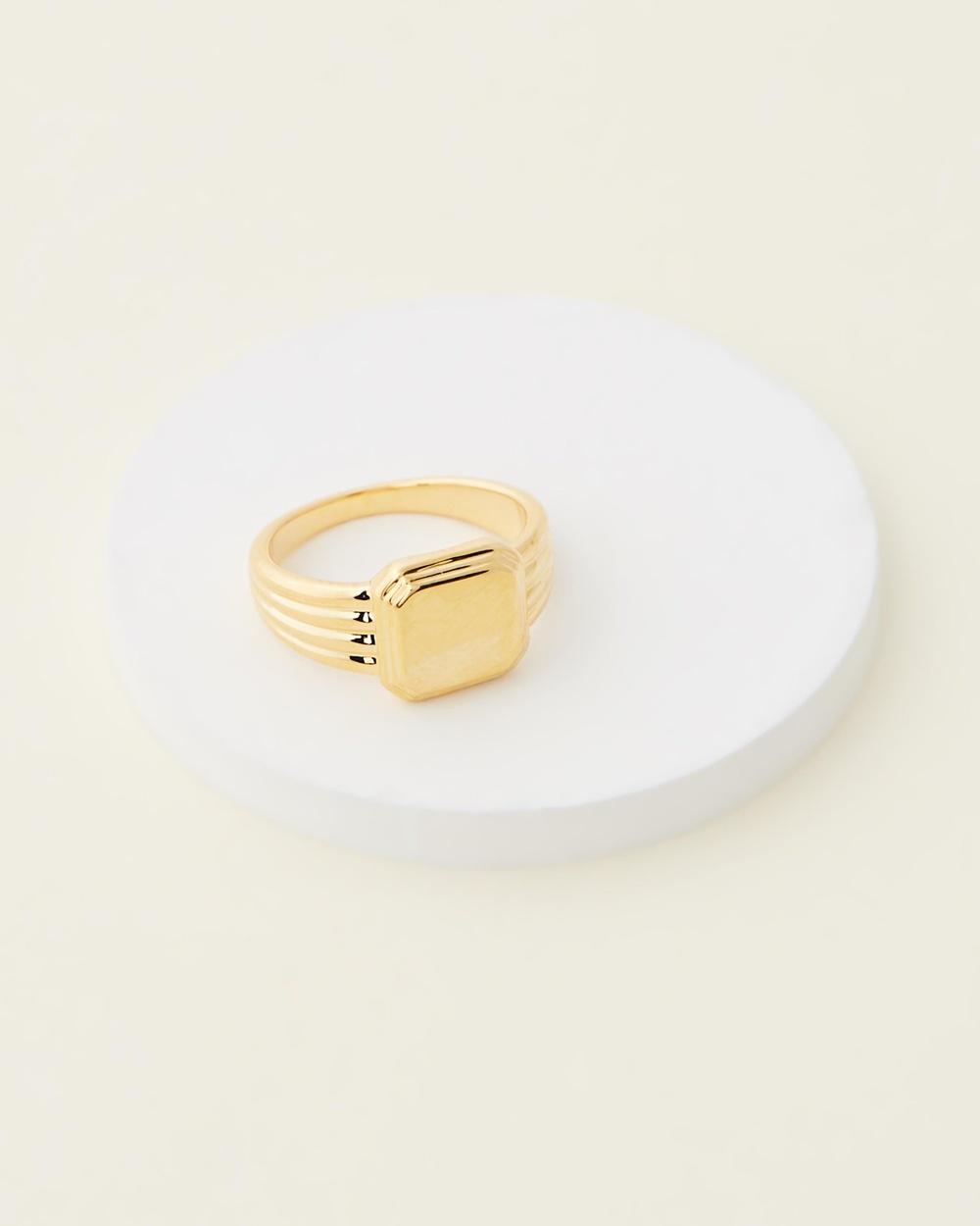 Orelia London Linear Square Signet Ring Jewellery Pale Gold