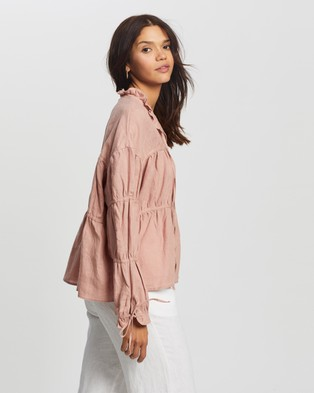 AERE - Layered Linen Smock Top Tops (Pink)