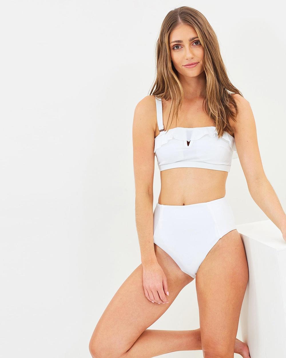 Ete Swimwear Santa Cruz High Waisted Bottoms Bikini Bottoms White Santa Cruz High-Waisted Bottoms