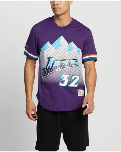 Mitchell & Ness Name Number Mesh Crew Jazz Purple