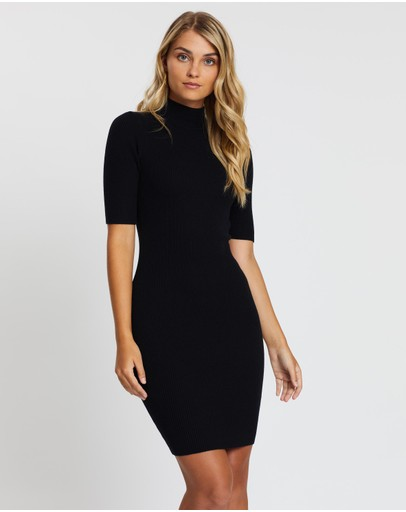 Atmos&here Knit Skivvy Dress Black