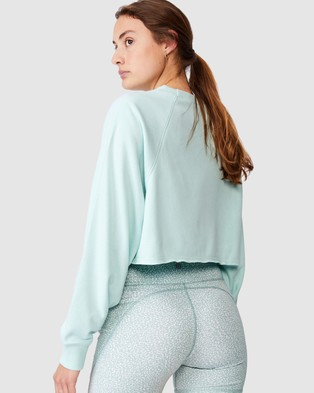 Cotton On Body Active Lifestyle Raglan Fleece Crop - Long Sleeve T-Shirts (Cooling Mint)