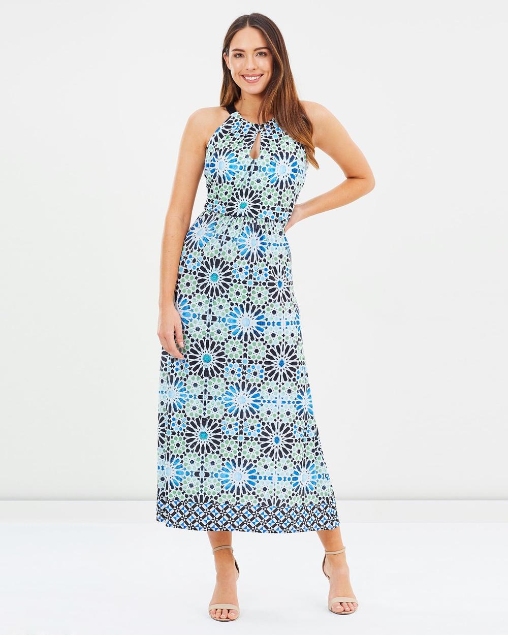 Wallis Tile Maxi Dress Printed Dresses Turquoise Tile Maxi Dress