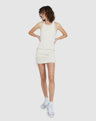 Dont Ask Amanda Aby Ribbed Bodycon Dress - Dresses (NATURAL)
