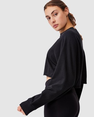 Cotton On Body Active Lifestyle Raglan Fleece Crop - Long Sleeve T-Shirts (Black)