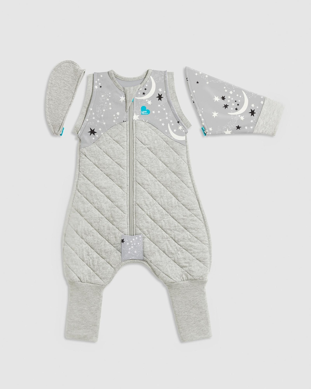 Love to Dream SWADDLE UP Transition Suit Extra Warm 3.5 Tog Sleep & Swaddles Grey Moon Stars