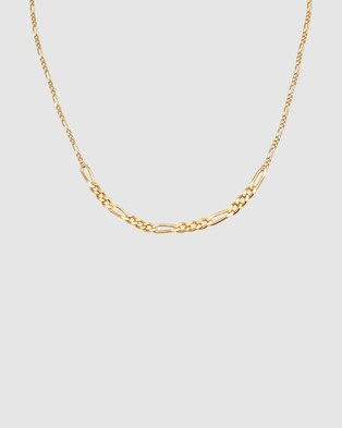 Elli Jewelry Necklace Choker Figaro Basic Trend in 925 Sterling Silver gold plated - Novelty Gifts (Gold)