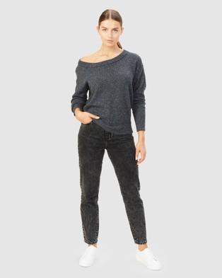 French Connection - Speckled Off Shoulder Knit - Jumpers & Cardigans (DARK GREY MELANGE) Speckled Off Shoulder Knit