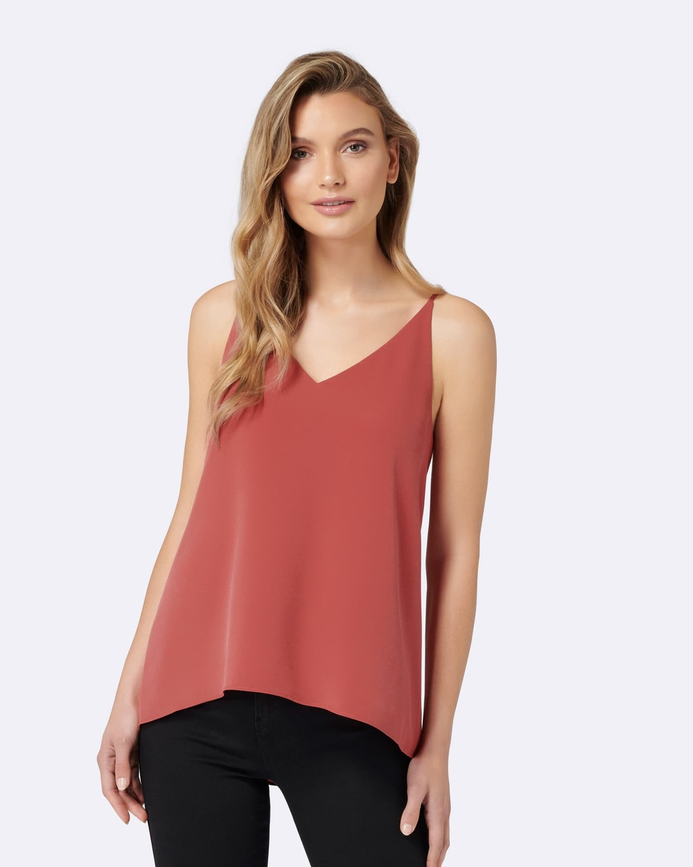Forever New Karima Deep V Cami Top Tops Pink Karima Deep V Cami Top