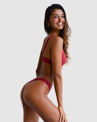 Cali Rae - Ibiza Cheeky Bikini Bottoms (Pomegranate)