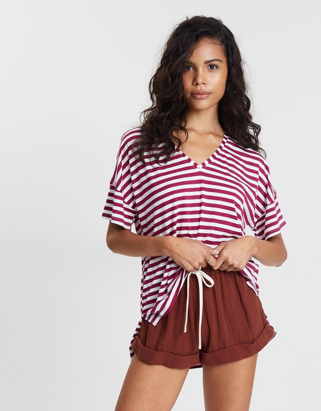 Otto Mode - Hazel Stripe V-Neck Tee