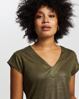 Marcs Afterglow Foil Linen Top - T-Shirts & Singlets (DARK OLIVE)