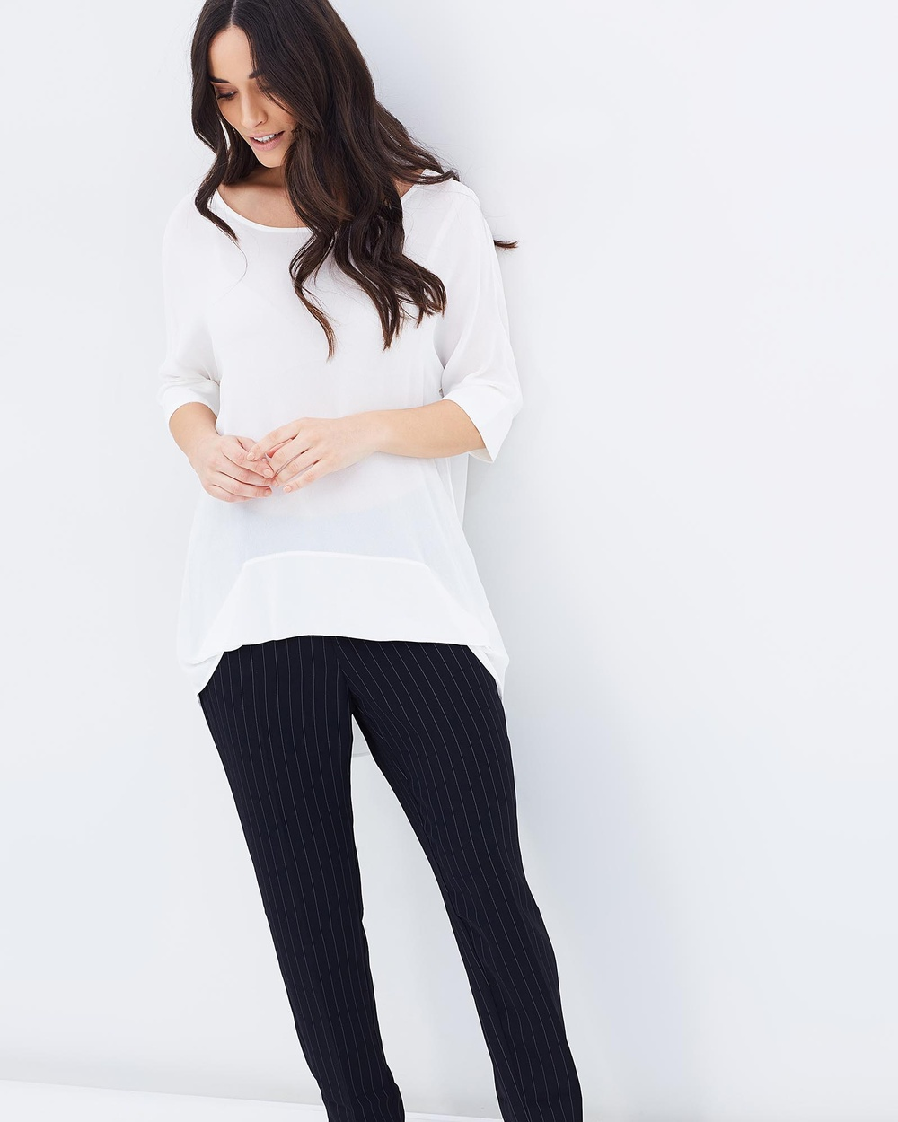 Faye Black Label Mila Tuck Stitch Top Tops Oyster Mila Tuck Stitch Top