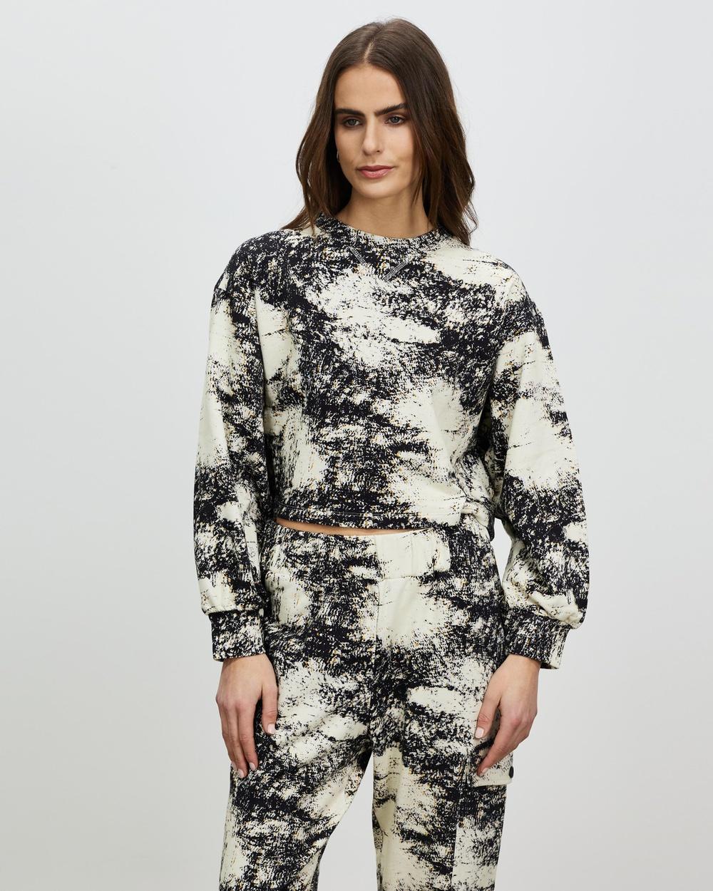 Aligne Barushka M Cropped Sweatshirt Sweats Marble Print