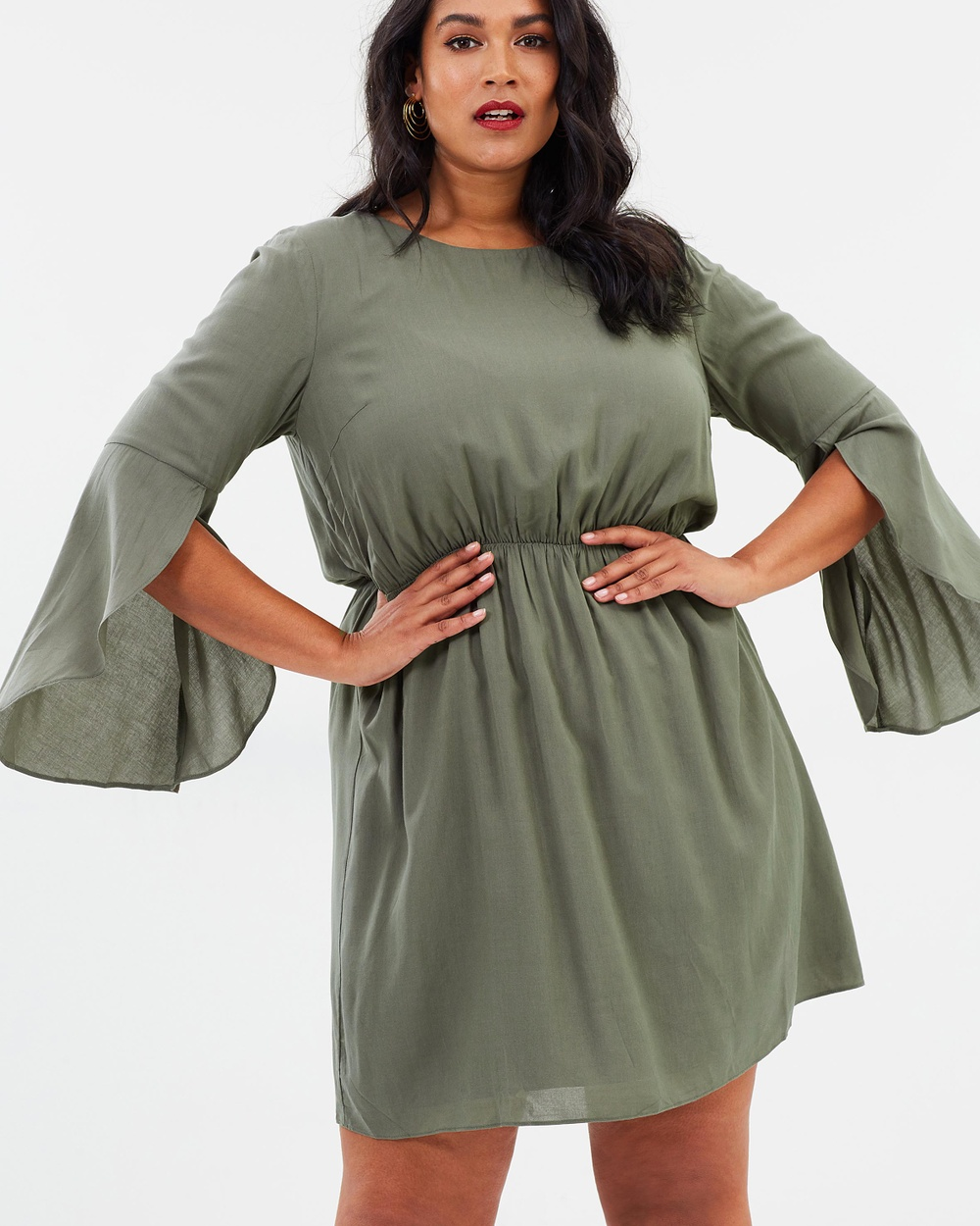 Atmos & Here Curvy ICONIC EXCLUSIVE Idina Fit And Flare Dress Dresses Khaki ICONIC EXCLUSIVE Idina Fit And Flare Dress