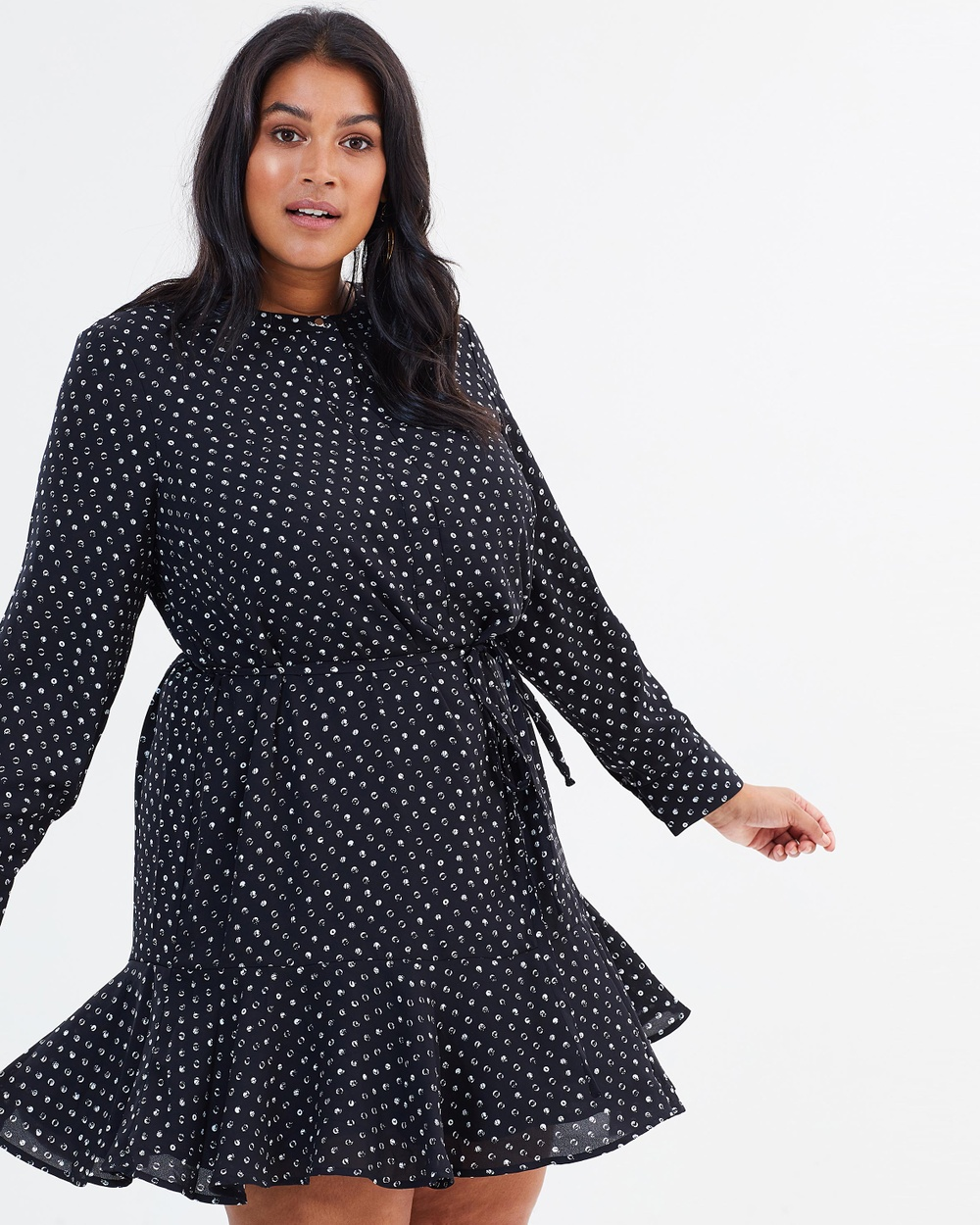 Rebel Wilson x Angels Long Sleeve Ruffle Dress with Hem Printed Dresses Mini Polka Dot Long Sleeve Ruffle Dress with Hem