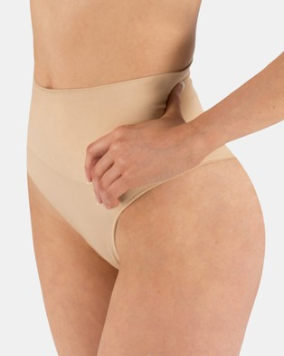 B Free Intimate Apparel 2 Pack Power Shaping Thong - Lingerie Accessories (Nude)