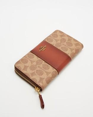 Coach Accordion Zip Wallet - Wallets (Tan & Rust)
