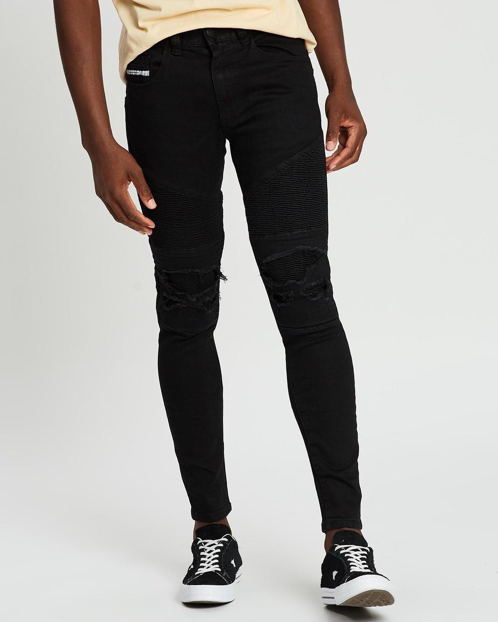 Nena & Pasadena Combination Slim Biker Jeans Jet Black Australia