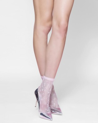 High Heel Jungle Tickled Pink Socks - Socks & Tights (Pink Sheer)
