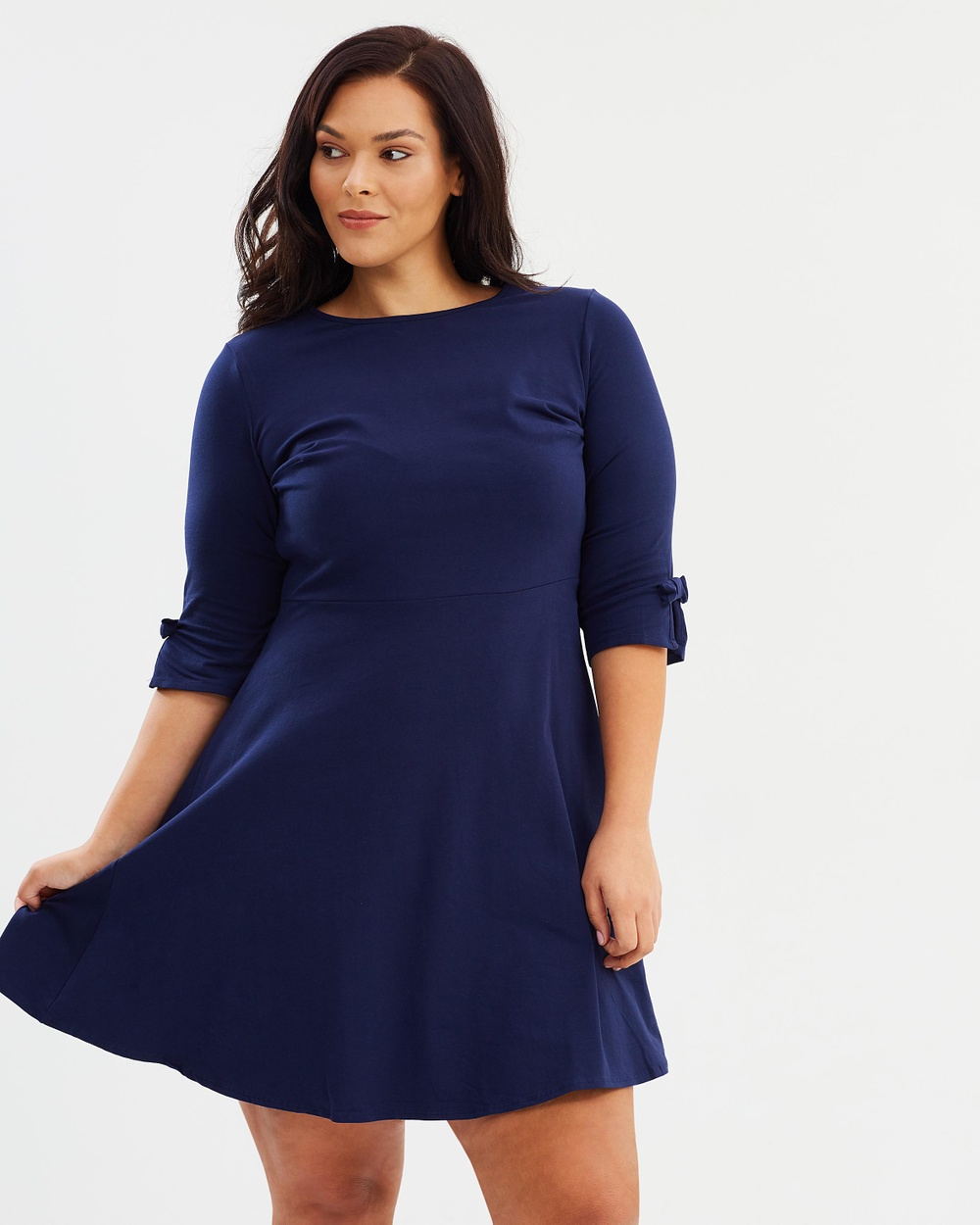 DP Curve Bow Sleeve Detail Fit and Flare Dress Dresses Navy Bow Sleeve Detail Fit-and-Flare Dress