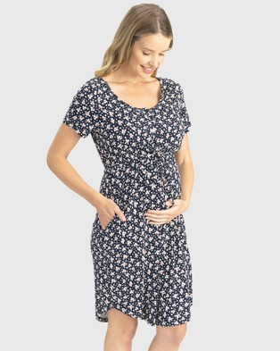Angel Maternity Maternity Drawstring Dress - Printed Dresses (Navy Print)