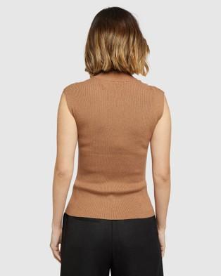 Oxford Luna Cap Sleeve Knit - Jumpers & Cardigans (Brown)