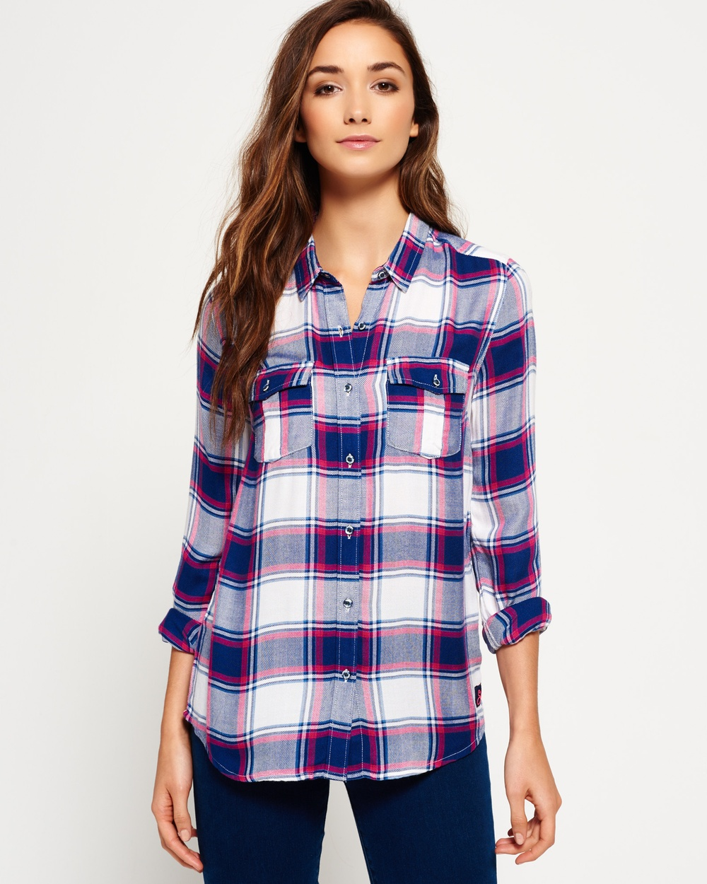 Superdry Nashville Boyfriend Check Shirt Tops Gilford Check Navy Nashville Boyfriend Check Shirt