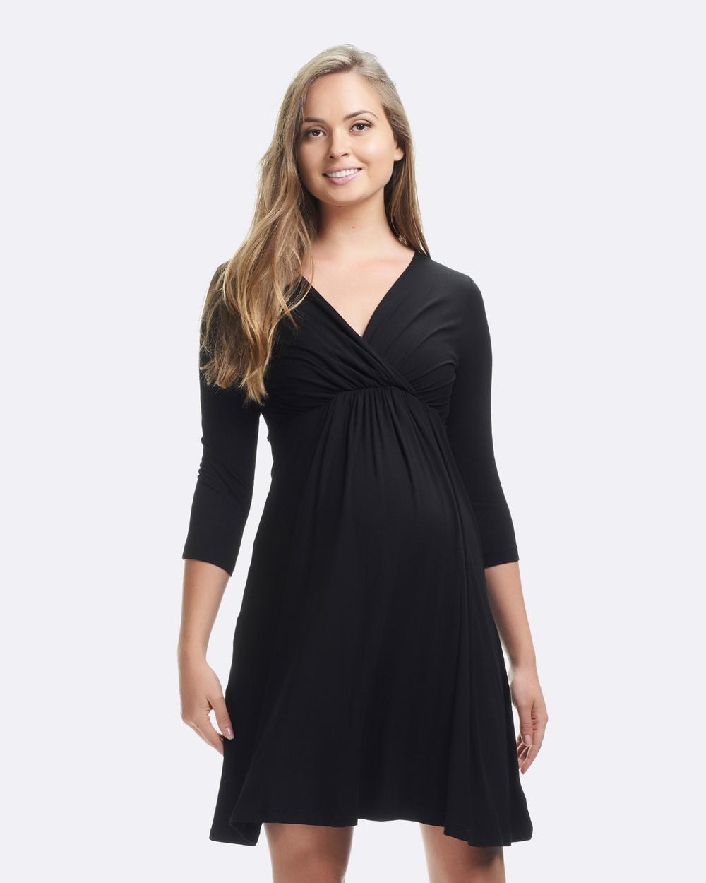 Soon Maternity Rio 3 4 Sleeve Dress Dresses Black Rio 3-4 Sleeve Dress