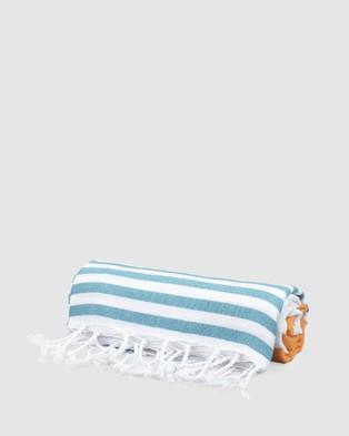 Tolu Australia Thin Turkish Towel - Towels (Orange and Turquoise)