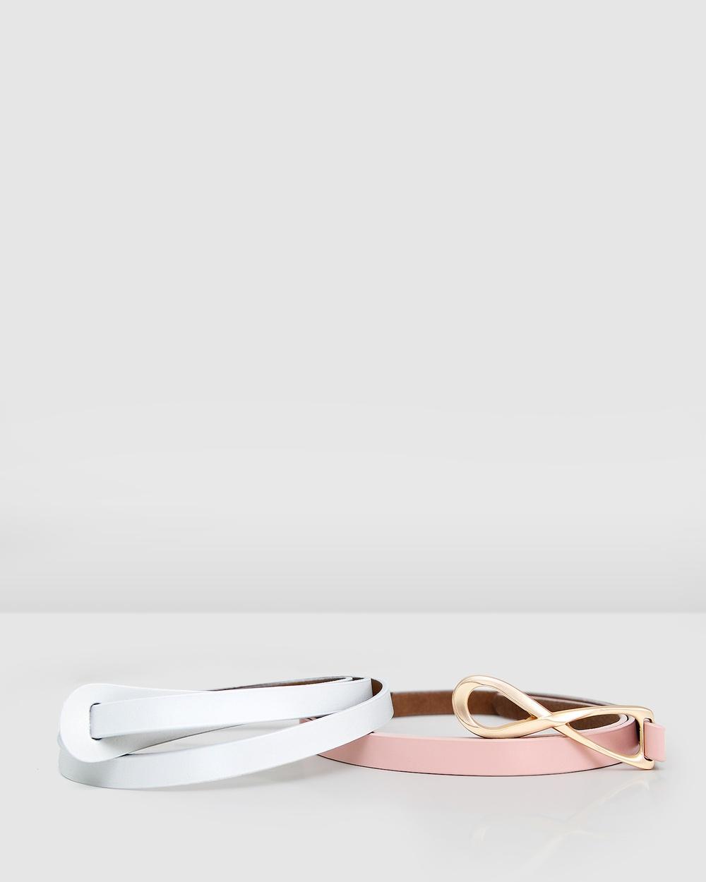 Belle & Bloom Leather Tie Belt 2 Pack Belts Mlticolour