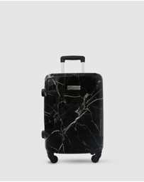 JETT BLACK - Black Marble Carry On Suitcase