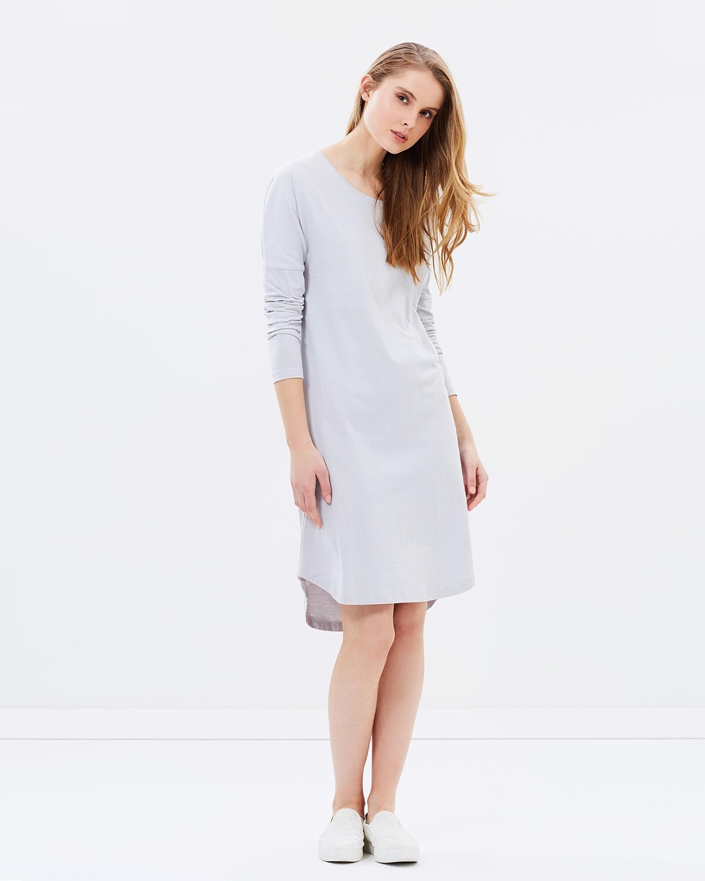 Cloth & Co. Organic Cotton Long Sleeve Dress Dresses Dove Grey Organic Cotton Long Sleeve Dress