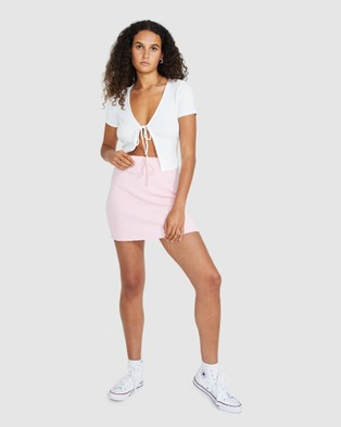 Dont Ask Amanda Brody Ribbed Stretch Skirt - Skirts (PINK)