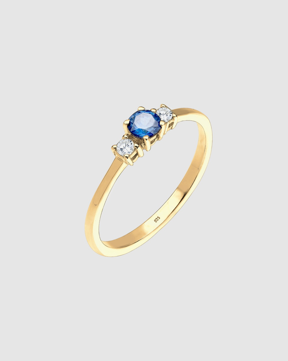 Elli Jewelry Ring Engagement Synthetic Saphire with Zirconia Crystals in 925 Sterling Silver Gold Plated Jewellery multi