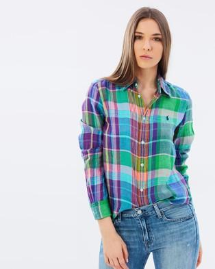 Polo Ralph Lauren – Boy Fit Plaid Linen Shirt Pink Plaid