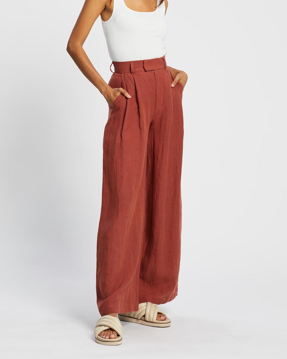 AERE Linen Wide Leg Pants Rust