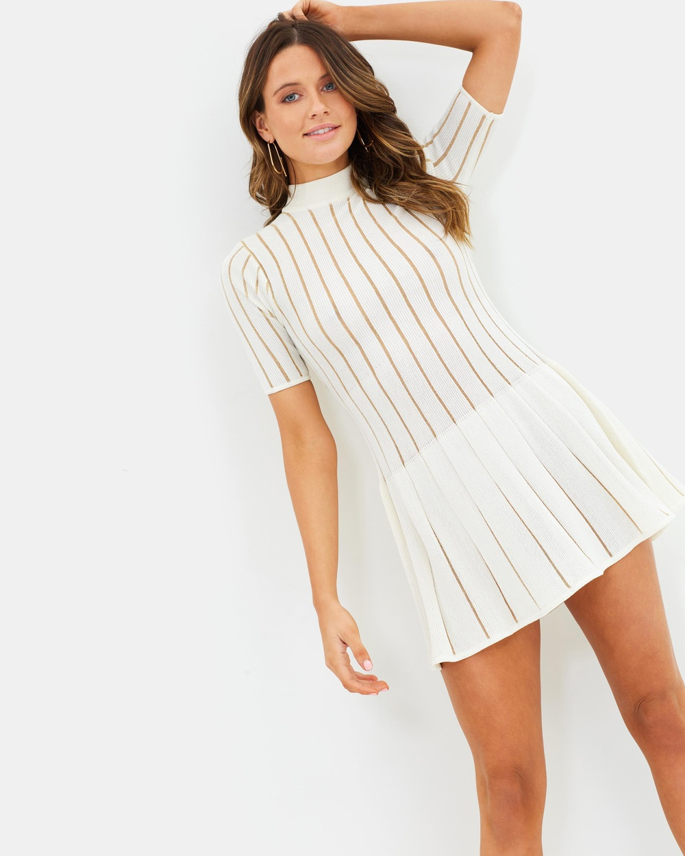 Misha Collection Marianne Mini Dress Bodycon Dresses Ivory & Gold Marianne Mini Dress