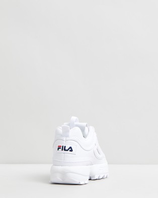 Fila Disruptor II   Kids   Unisex - Lifestyle Sneakers (White, Navy & Red)