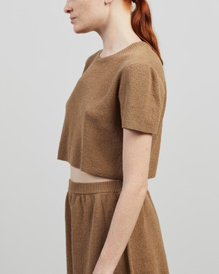 Bec + Bridge - Fifi Knit Top Cropped tops (Taupe)