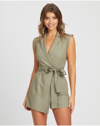 Atmos&Here - Sleeveless Wrap Linen Playsuit