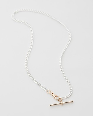 Chained & Able T Bar Mix Necklace - Jewellery (Silver)