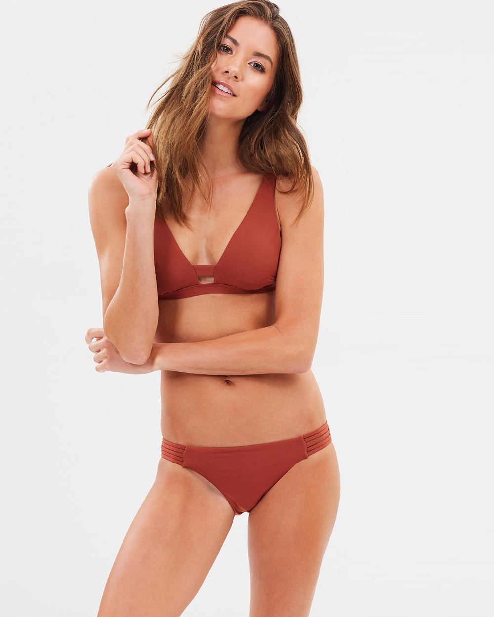 Seafolly Active Multi Rouleau Brazilian Bottoms Bikini Bottoms Burnt Amber Active Multi Rouleau Brazilian Bottoms