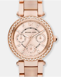 Michael Kors - Mini Parker Rose Gold-Tone Chronograph Watch