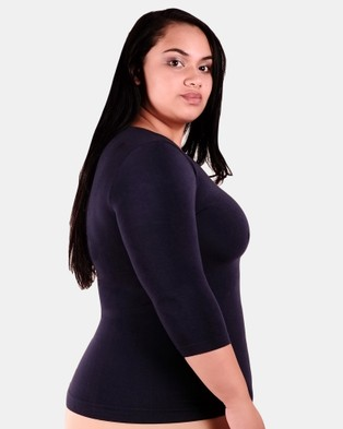B Free Intimate Apparel Curvy Bamboo 3 4 Sleeve Top - Tops (Blue)