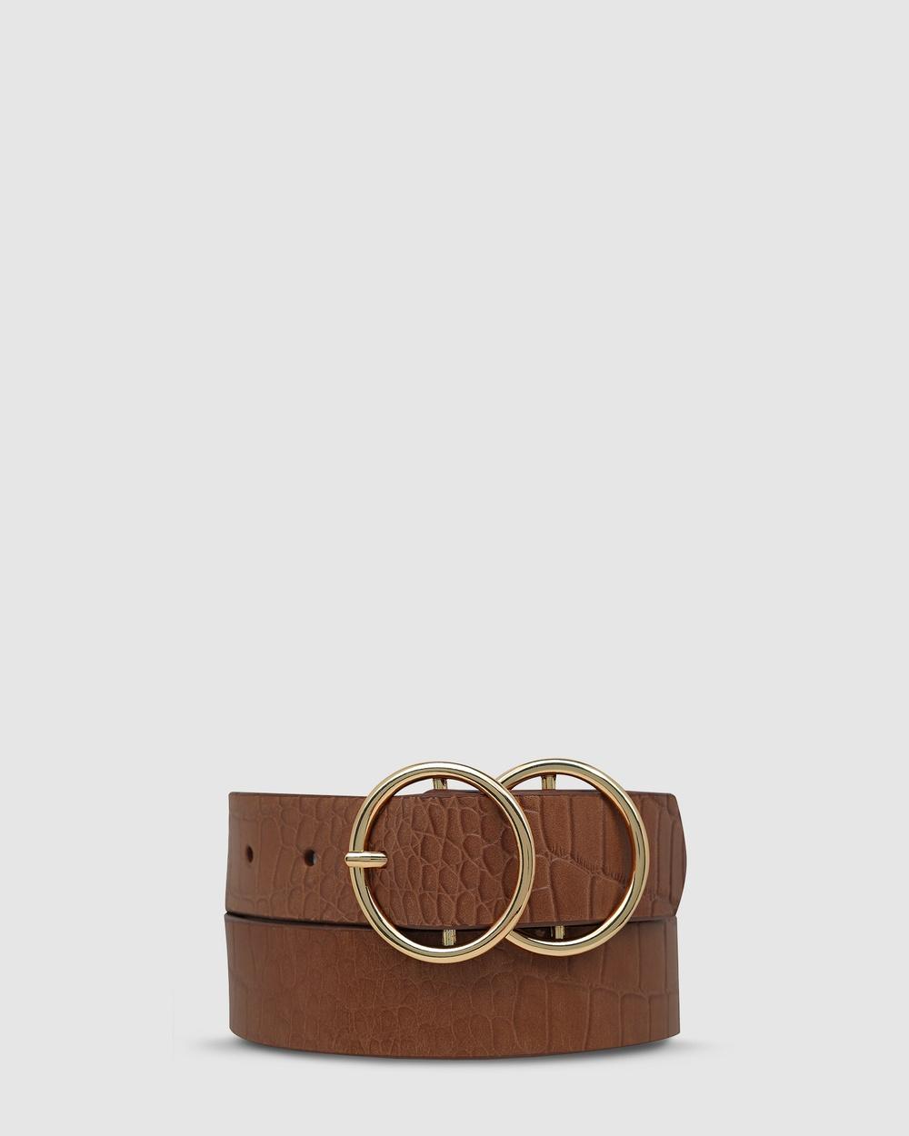 Status Anxiety Mislaid Belt Belts Tan Croc/Gold