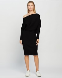 REISS - Lara Off-Shoulder Ribbed Dress