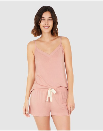 Boody Organic Bamboo Eco Wear 2 Pack Goodnight Sleep Cami - Dusty Pink